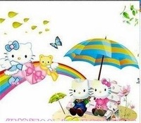 Hot Sell!Wholesale Hello Kitty  and Rainbow Cartoon Art Wall Sticker Decal Free Shipping ,100pcs/lot,ZS094