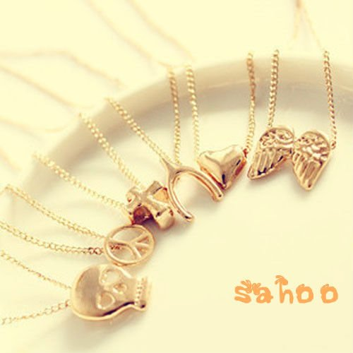 Hot! Fashion Jewelry,Mix Style Skull/Crucifix/Clover/Anti War/Angel Wing Necklace,Western Style Necklace,40pcs/lot Free Shipping(China (Mainland))