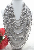 Excellent !  12 Strands Silver Gray Fancy Pearl Necklace