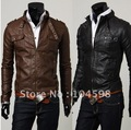 2013 Free shipping Men's fashion Winter collar zipper type Silm faux Leather jacket coat,M L XL 2XL
