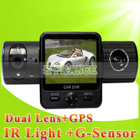Автомобильный видеорегистратор Dual Lens Car DVR X8000 Twins Cam Car Video Recorder with HD 720P + G-Sensor + Motion Detection