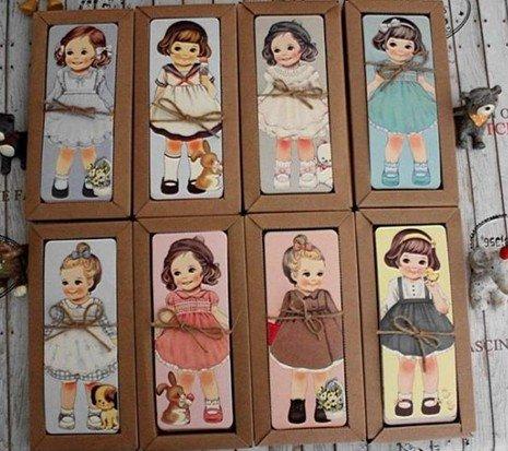 Free Shipping/Creative kawaii doll Bookmark set/30 sheets per set/Cartoon Book marks(China (Mainland))