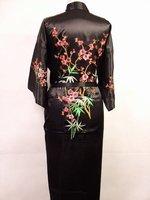 New Black Chinese Women's Silk Satin Embroidery Kimono Robe Gown Flowers Free Shipping S M L XL XXL XXXL