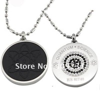 Free Shipping 10pcs/lot Scalar Energy Quantum Pendant inlaid diamond with Titanium chain Iava stone health care GX515white