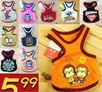 wholesale  many colors+mix order   cute cartoon  dog shirt   cotton free shipping