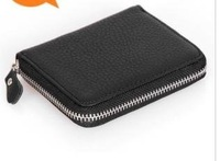 2011 new man brief paragraph leather zipper small wallet men's vogue leather wallet