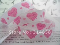 "Free shipping 5/8"" Daddy's girl  Grosgrain ribbon, print ribbon for hair bow 50yards white fabric tape chevron fabric"