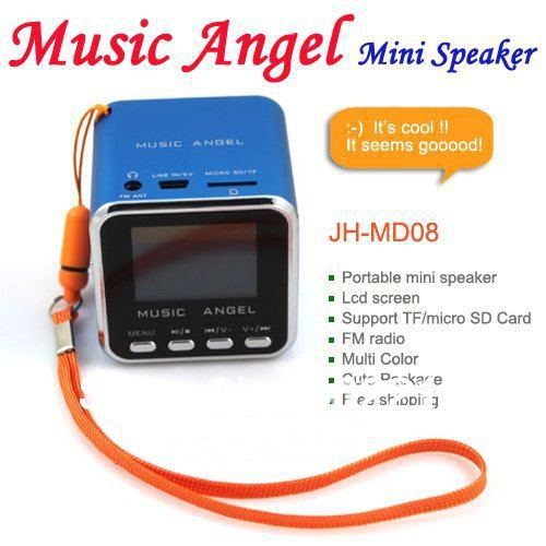 Music Angel MD08 Portable mini Speaker Support FM Radio + TF/Micro Card + LCD Screen Mixed Color As New Years&#39; Gift 5PCS/LOT(China (Mainland))