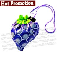 Nice gift promotion! only 10pcs/lot shopping folding foldable grape fruit bag,many colors available handle Bag+free shipping