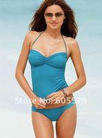 Hot sell Women Lady Fashion Sexy Tankini Swimsuit Sports Swimming 2 pcs/4Color/BLUE