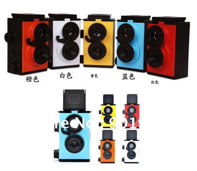 Antique DIY Twin Lens Reflex Camera Manual Film Camera 135 ISO400 Colletors Gift Novelty Product 2pcs/Lot Free Shipping(China (Mainland))