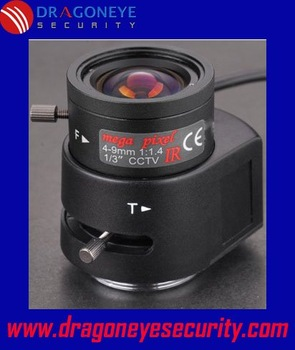 DragonEye camera Lens 4-9mm IR Mega Pixel Auto Iris Lens for Box Cameras, 1/3'' CCD, 1/4'' CCD, clear vision at night, CS Mount