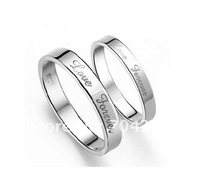 "Free ship fee A pairs 925 sterling silver ""Love forever""  finger ring US standards size (6;7;8;9;10)  Valentine's Day gift R04"