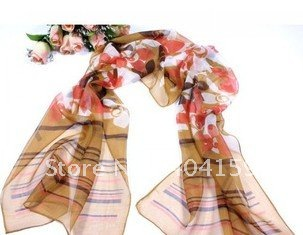 26 ladies 40% silk 60% rayon fashion viscose muslin scarf 20 pcs / 1 lot(China (Mainland))