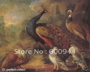 Pavão e perdiz animais da pintura a óleo da arte handpainted livre do transporte 100%