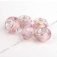 30pcs Pink Lampwork Glaze Glass Charms Beads Big Hole Bead Diy Murano Beads Inlay Rhinestone FIT European Bracelets 151605-30