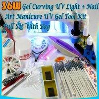 Free shipping  36W NAIL UV LAMP DRYER + FULL SET MANICURE UV GEL 46#