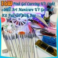 Free shipping 36W NAIL UV LAMP DRYER + MANICURE UV GEL FULL KIT 30#