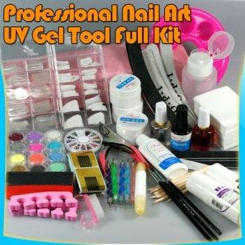 Professional NAIL ART FULL SET UV GEL KIT MANICURE TOOL  Free shipping