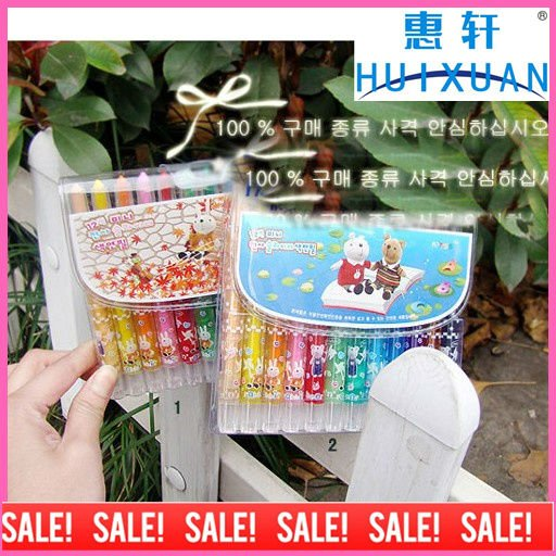 2012Hot ! Cartoon crayon pens ,12 colors crayon pen/cute gift(China (Mainland))