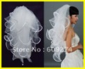 Free Ship 2012 Hot Four Layers White Ivory Wedding Veils Tulle Pearl Ribbon Edge Comb Bridal Veil