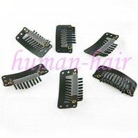 100pieces/lot 9-teeth wig hair clip,metal clip,snap clip for hair ,brown color 32mm long