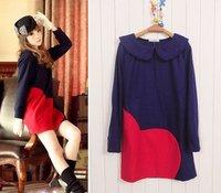 Hot selling 2011 Winter love navy blue woolen autumn fashion dress  #0285 wholesale