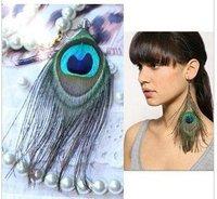 100 / lot Free shipping Fashion Tibetan Natural Peacock Feather Earring