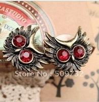 100 / lot Free shipping Fashion Tibetan Earring Natural Owl