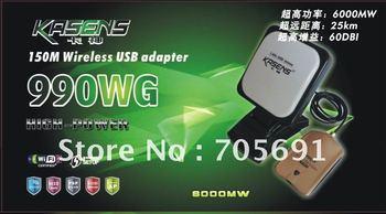 Free Shipping 2012 kasens 990WG new Launch 60DBI panel Antenna 3070 SMA connector wireless USB adapter Adaptador wifi usb 6000MW