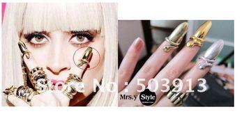 Lady Gaga Fashion Punk Cool Finger Nail Snake Design Rings (Gold Silver Bronze)