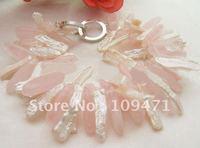 WOW! White Biwa Pearl&Pink Quartz Bracelet