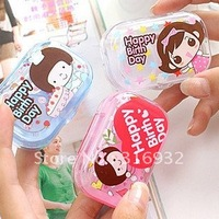 Cute Lovely Happy Birthday Travel Portable Contact Len Lenses Container Case Set Holder Box