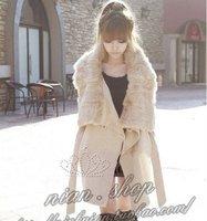 wholesale new  Fall and winter clothes  Women  fashion warm fur collar Slim light beige  woolen coat #0601 cheap dress
