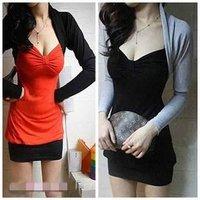 wholesale new  Fashion sexy V Collar   bow collar Long fashion dress #0673 cheap dress
