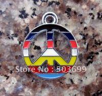 Free Shipping 100pcs zinc alloy metal Lovely peace sign charms enamel pendant enamel charms
