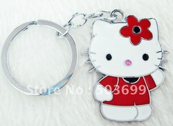 a4766 Free Shipping 10pcs enamel hello kitty key chain key ring(China (Mainland))