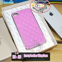 Wholesale Noble Luxury Leather Electroplate Bling case for iphone4 iphone4s Free Shipping