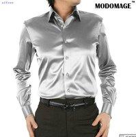 Casual shirt men's shirt  /silk men's  shirts  long sleeve grey
