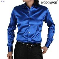 Casual shirt men's shirt  /silk men's  shirts  long sleeve grey color-blue