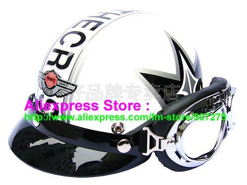 P.20 Fashionable Half Vespa Cycling Half Face Motorcycle White # Grapheme Helmet Casco & UV Silver Goggles Adults M , L , XL(China (Mainland))
