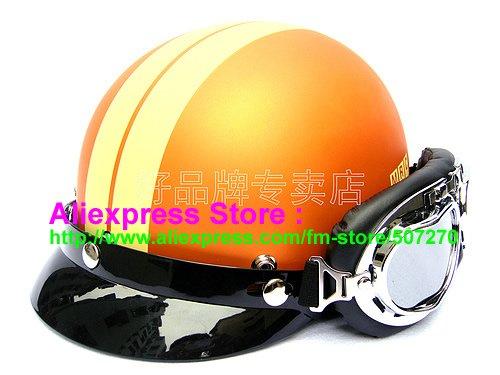 P.55 New ABS Half Bol Vespa Cycling Half Face Motorcycle Orange # Yellow Stripe Helmet Visor & Silver Goggles SIZE M , L , XL(China (Mainland))