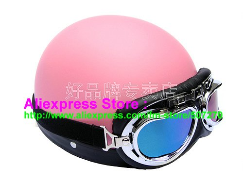 P.73 ABS Half Bol Motorbicycle Casco Cycling Half Face Motorcycle Matt Pink Helmet & Color Goggles For Summer(China (Mainland))