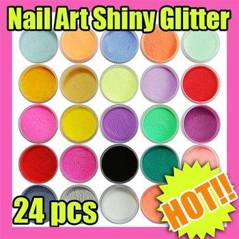 100 set/lot 19g 24 Color Acrylic Powder Dust Nail Art Decoration New      #C552
