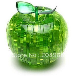Free shipping + Light Apple Puzzle,3D Puzzle Crystal Decoration Red Green Apple Jigsaw Puzzle Toy Gift