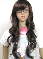 Fancy long brown wavy synthetical wig   +gift Imitate human hair no lace