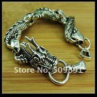 Free shipping Hot sale silver Fashion black magic dragon charm bracelet  YPB43