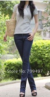 2012 qiu dong outfit new \ stretch of waist straight canister big yards jeans female female cultivate one's morality pants