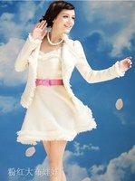 Large doll pink white Iceland tweed Hitz Women Dress Jacket Women's winter dress