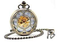 promotion  big size brozen Hollow, circle  white face mechanical pocket watch,  size:45*45mm